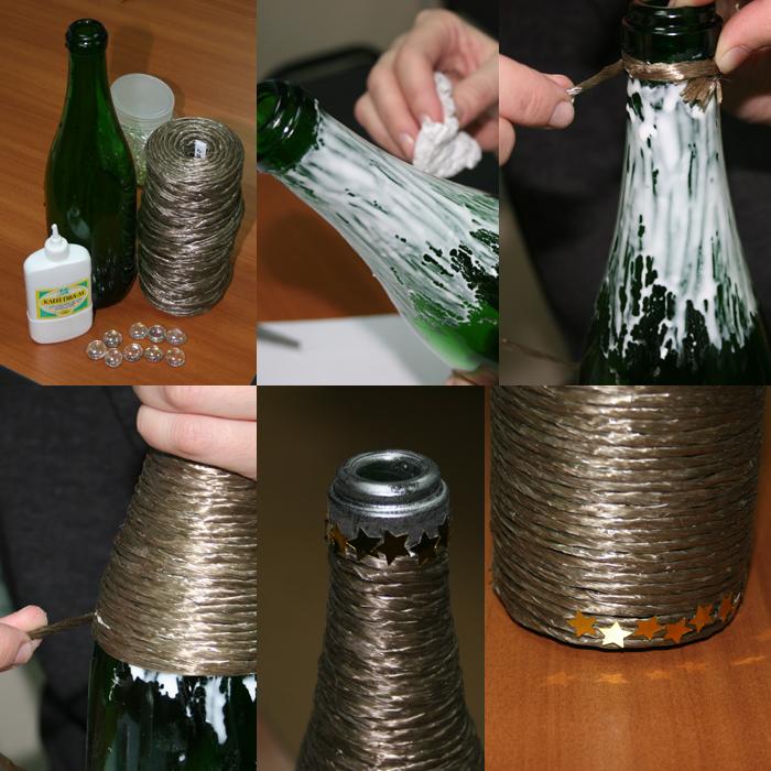 Как своими руками украсить бутылку на день рождения своими руками
