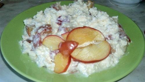 Творог с печеным яблоком
