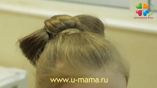 Прическа на 1 сентября. Бант из волос (видео)
