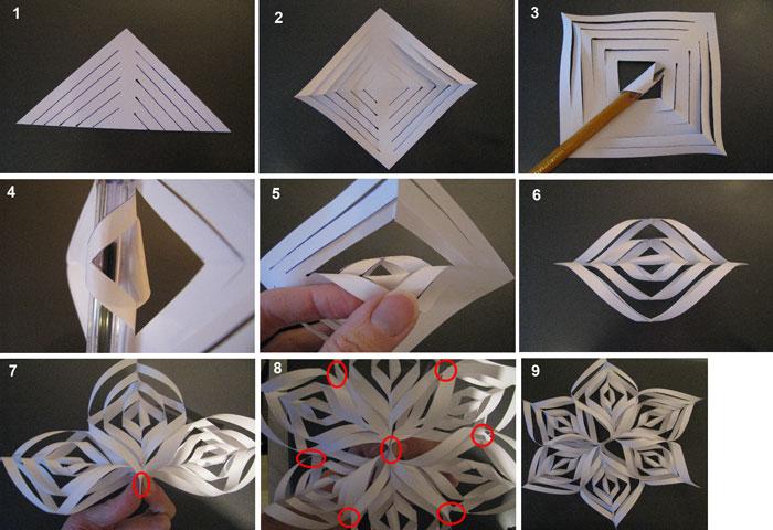 Как делать объемную снежинку из бумаги своими