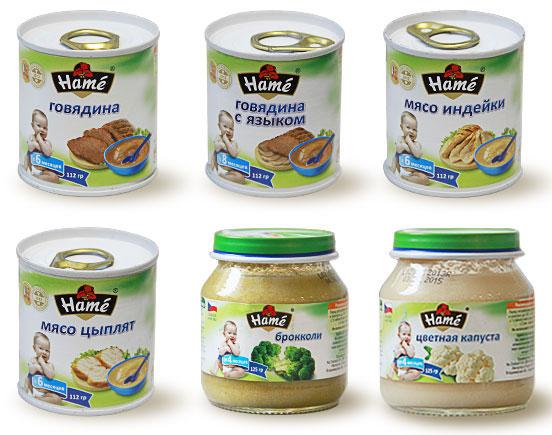 детское питание баночное пюре